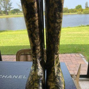 CHANEL Shoes - Chanel NIB Laminated Suede Goatskin Gold High Boot